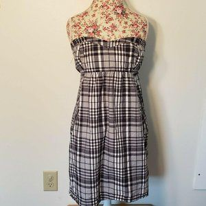 American Eagle Outfitters Black Plaid Strapless